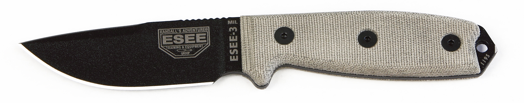 ESEE-3MIL-P-CP - ESEE-3P-CP w/ Glass Breaker Pommel, OD Sheath w/ MOLLE Back