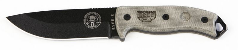 ESEE-5P-KO - ESEE-5 Plain Edge, No Sheathing, Black Blade