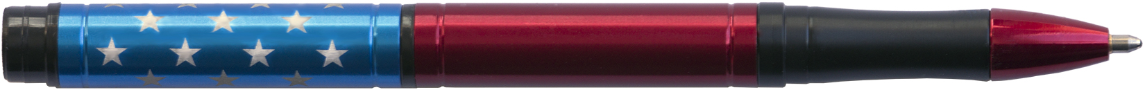 PT-SS - FISHER Red & Blue Star Spangled Space Pen, Cap LASERED w/ STARS - Black Shuttle Box