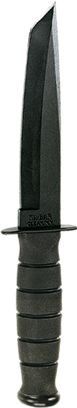 1254 - KA-BAR SHORT TANTO BLACK, BLACK LEATHER SHEATH, STRAIGHT EDGE