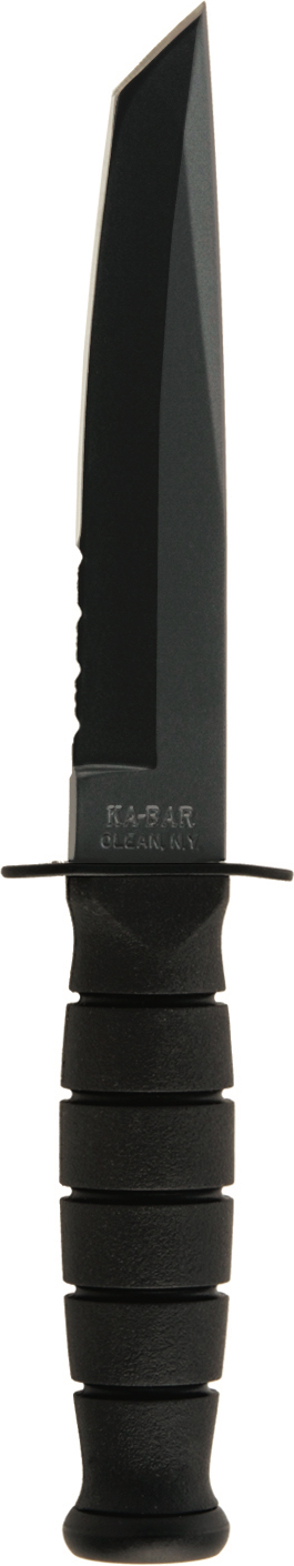 1255 - KA-BAR SHORT TANTO BLACK, BLACK LEATHER SHEATH, SERRATED EDGE