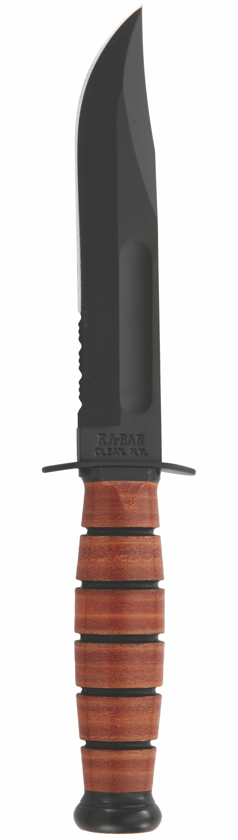 1261 - KA-BAR SHORT, USA, BROWN LEATHER SHEATH, SERRATED EDGE