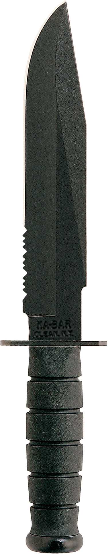 1271 - KA-BAR FIGHTER BLACK, BLACK LEATHER/CORDURA SHEATH, SERRATED EDGE
