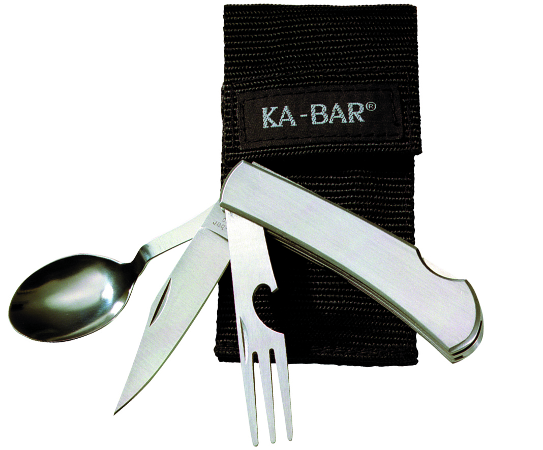 1300 - KA-BAR HOBO STAINLESS FORK/KNIFE/SPOON BOXED, BLACK NYLON SHEATH, STRAIGHT EDGE