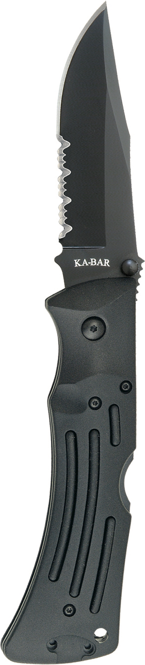 3051 - KA-BAR MULE FOLDER BLACK, BLACK POLYESTER SHEATH, SERR
