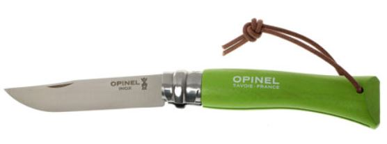 001442 - OPINEL Trekking Nø07 apple green with a leather lace 8cm