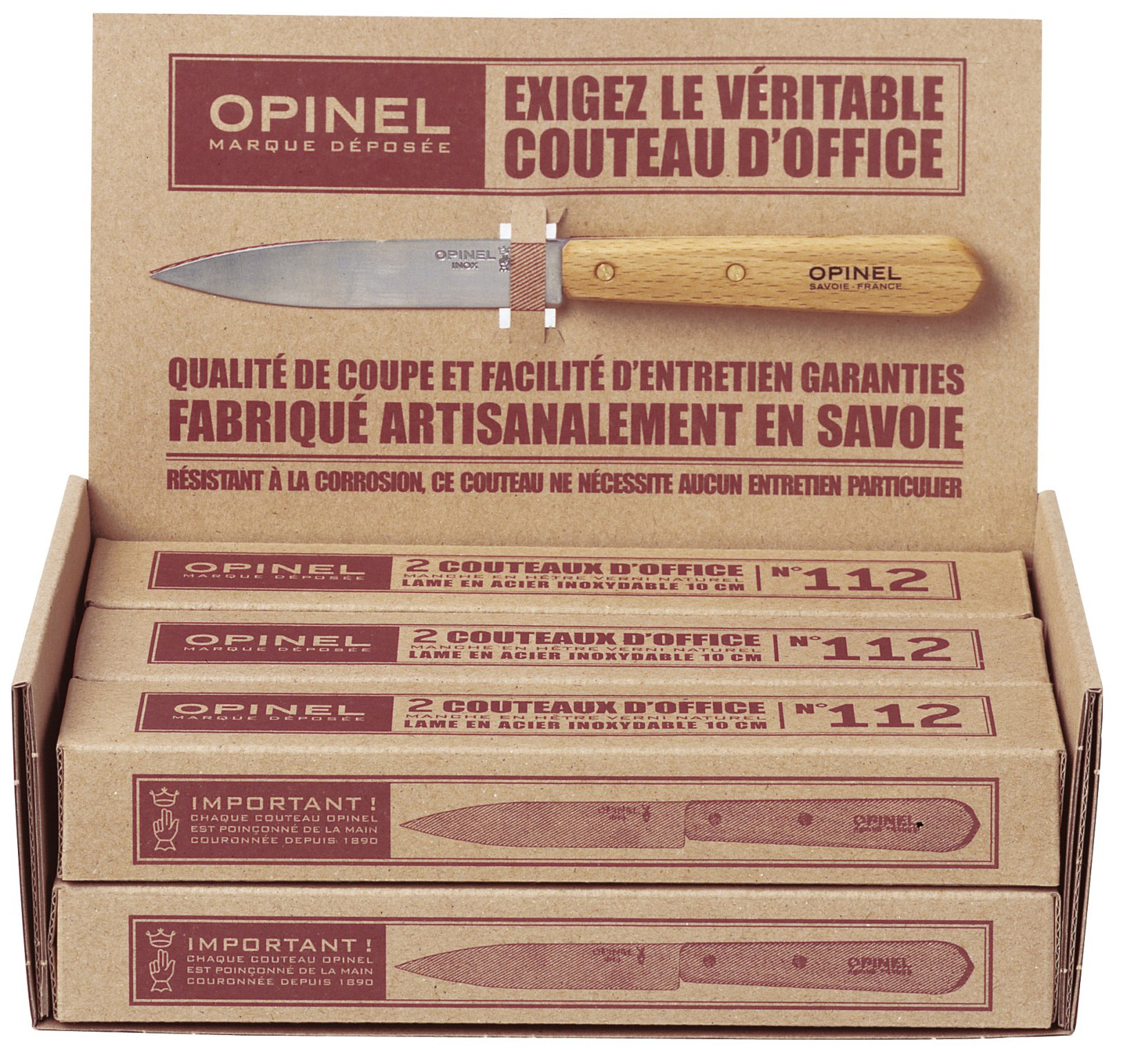 1231 - OPINEL KITCHEN Display of 6 boxes of 2 paring knives N›102 + 1 paring knife 112, natural varnished handle Blade 10cm