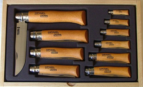 183104 - OPINEL Display Glass Change tray of 10 carbon steel knives 3.5 to 12cm