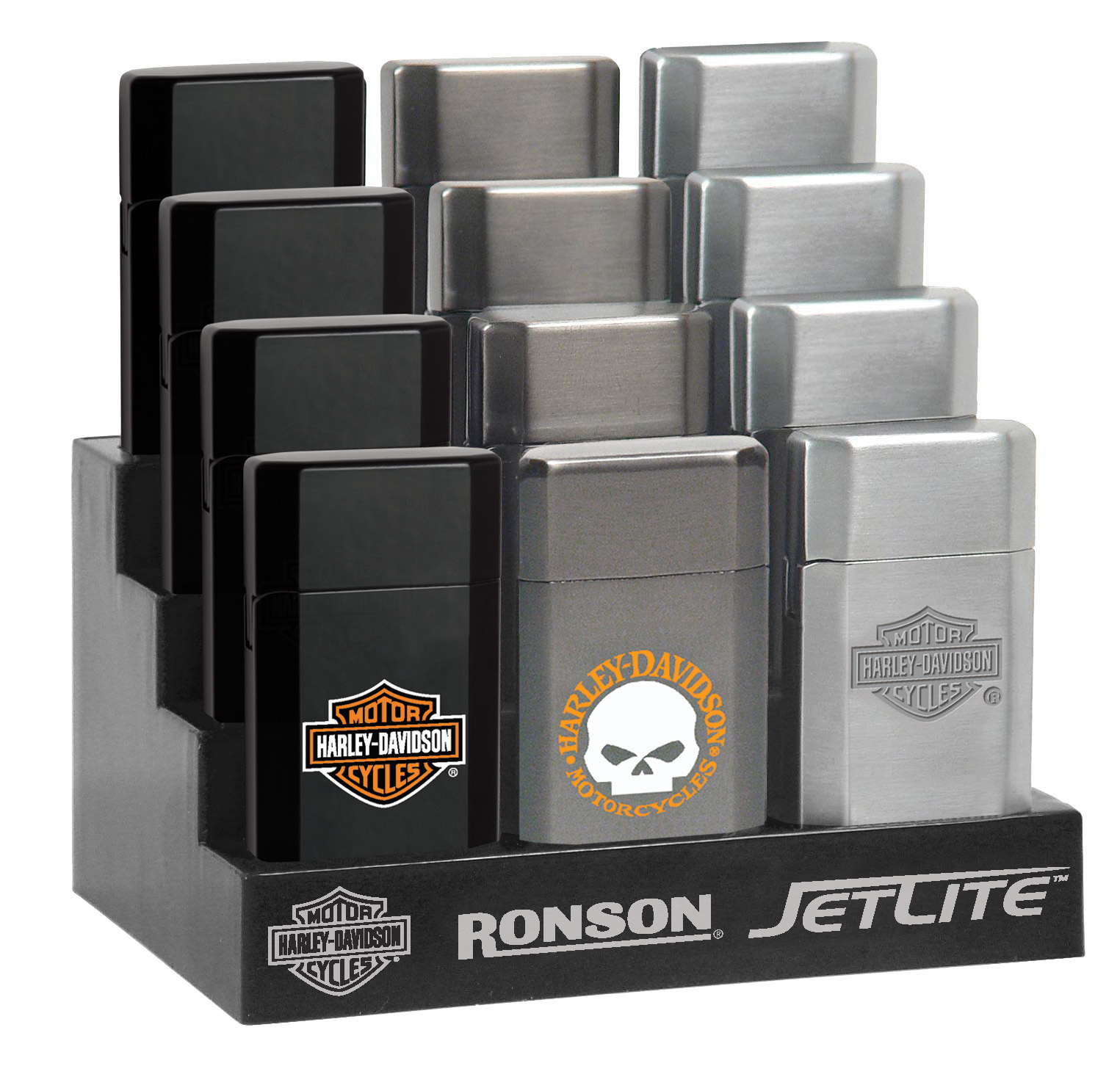43521 - Ronson Harley Davidson HD JetLite Blister Card Assortment 12 Pack