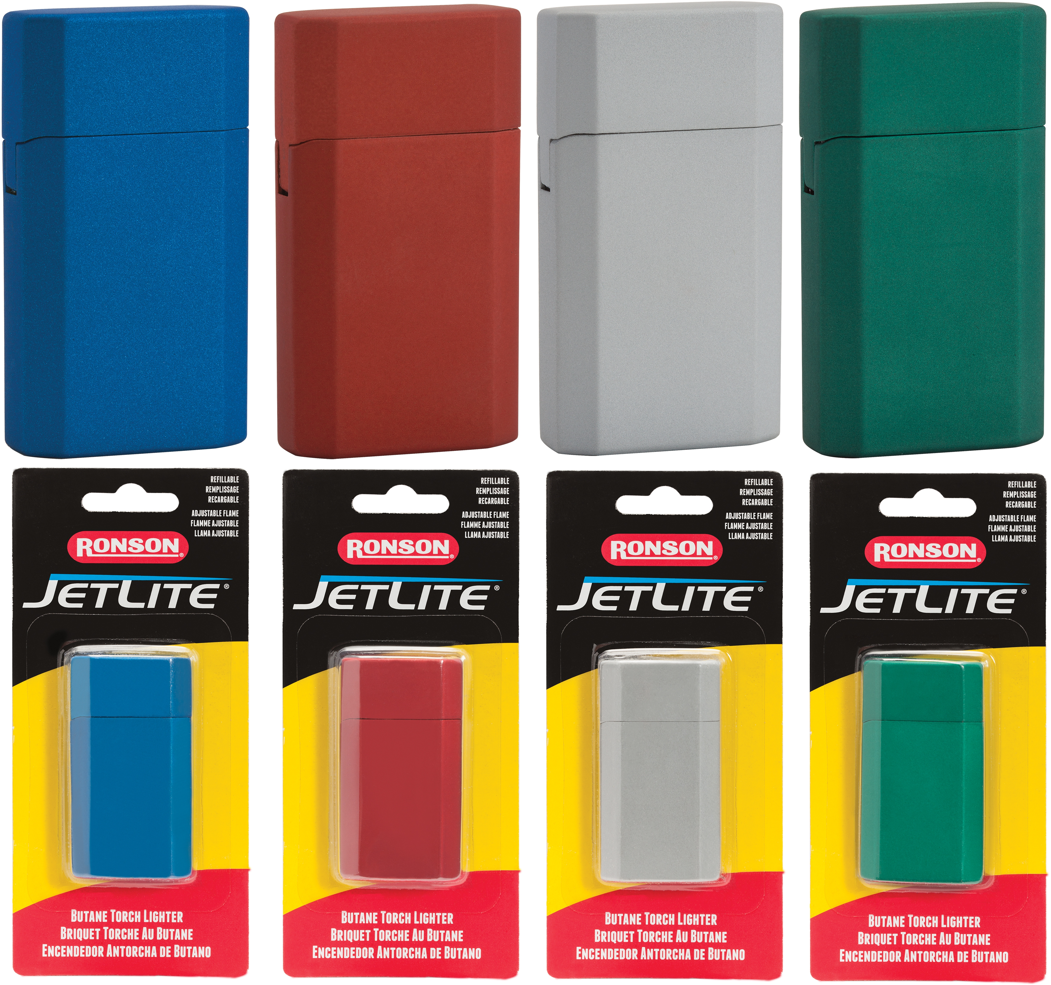 43522 - Ronson Rubber Meralic JetLite Blister Card Assortment