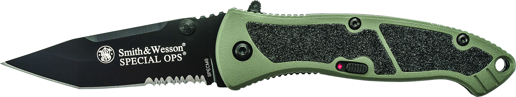 SPECMS - Smith & Wesson Medium Special Ops M.A.G.I.C. Assist Aluminum Green Handle w/40% Serrated Black Tanto Blade