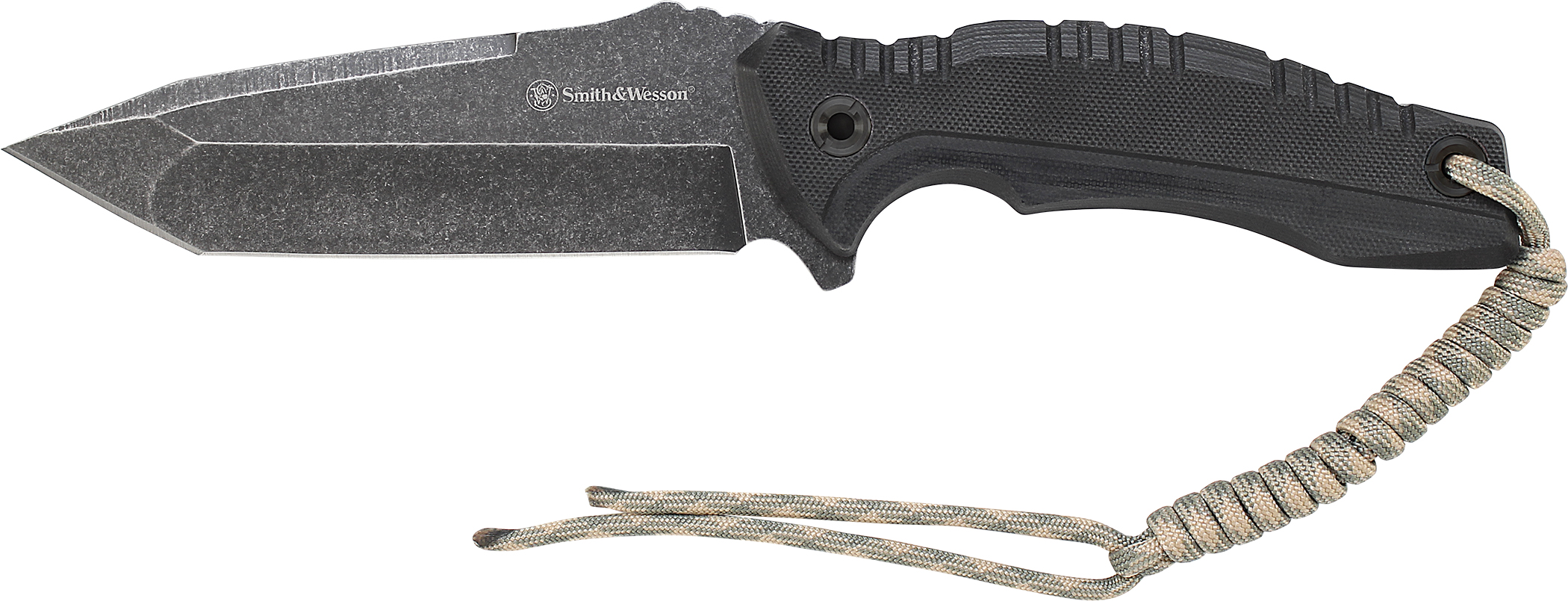 SWF603 - Smith & Wesson Fixed Blade, Stone Washed 8Cr13MoV Tanto Blade, Thumb Knobs, Index Flipper, G10 Handle