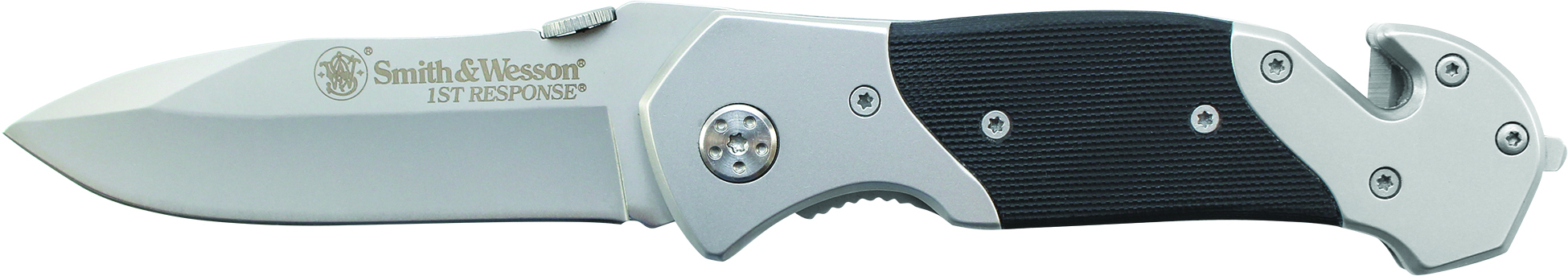 SWFR - Smith & Wesson First Response Drop Pnt Blade w/Black G10 Insert, Belt Cutter,Win Punch w/PC