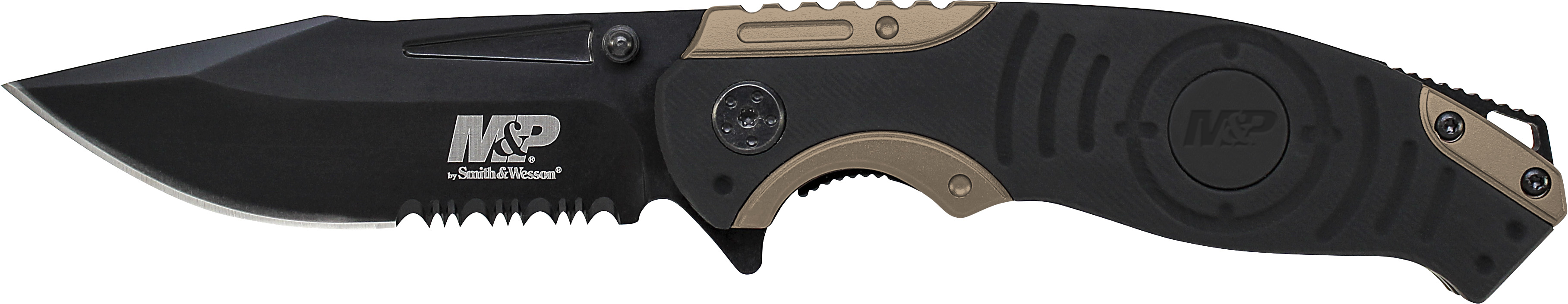 SWMP13BS - Smith & Wesson Liner Lock, 8Cr13MoV Drop Point Blade, Thumb Knobs, Index Flipper, Black/Gold Handle