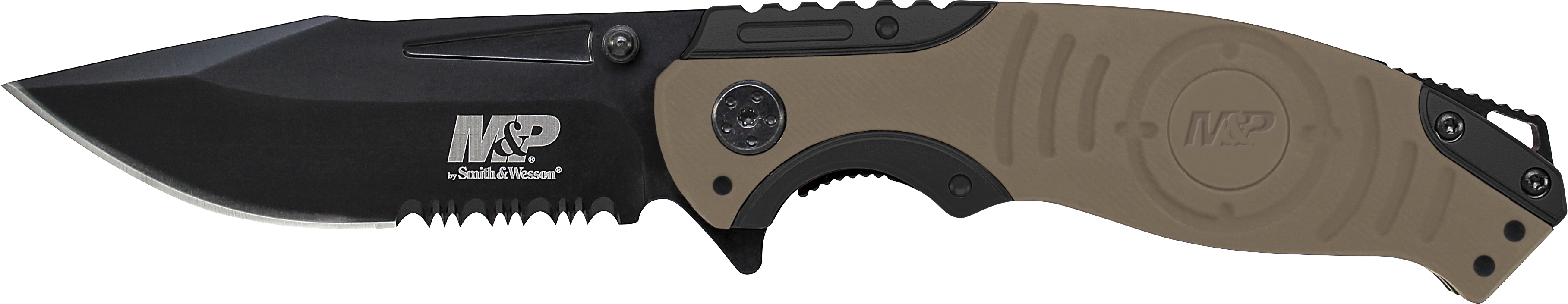 SWMP13GLS - Smith & Wesson Liner Lock, 8Cr13MoV Drop Point Blade, Thumb Knobs, Index Flipper, Gold/Black Handle