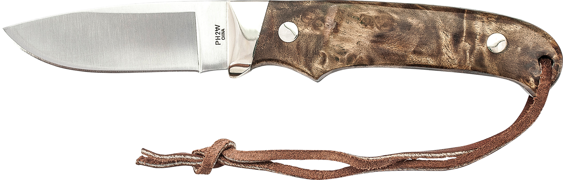 PH2W - Schrade Iron Wood Handle, Nickel Bolster Fixed Blade Knife w/Leather Sheath. 7Cr17MoV Steel.
