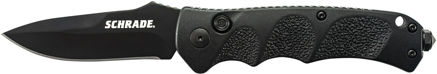 SC60B - Schrade Black Drop Point 4116 Steel, Push Button Lock, Safety On Back Of Handle