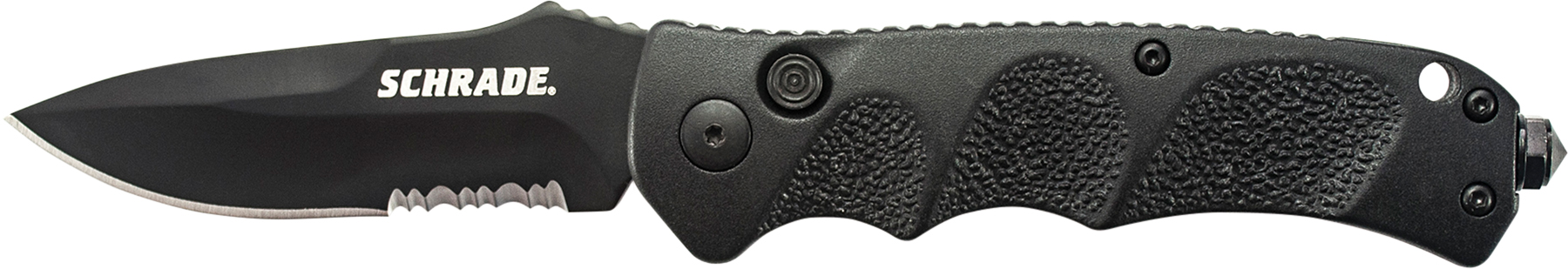 SC60BS - Schrade Black Drop Point 40% Serrated 4116 Steel, Push Button Lock, Safety On Back Of Handle