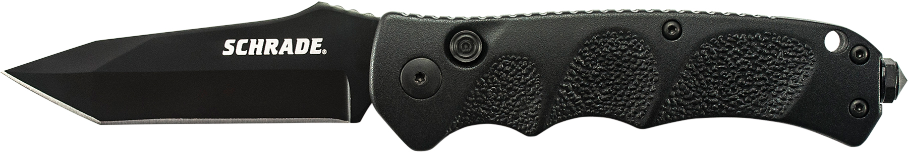 SC60BT - Schrade Black Tanto 4116 Steel, Push Button Lock, Safety On Back Of Handle