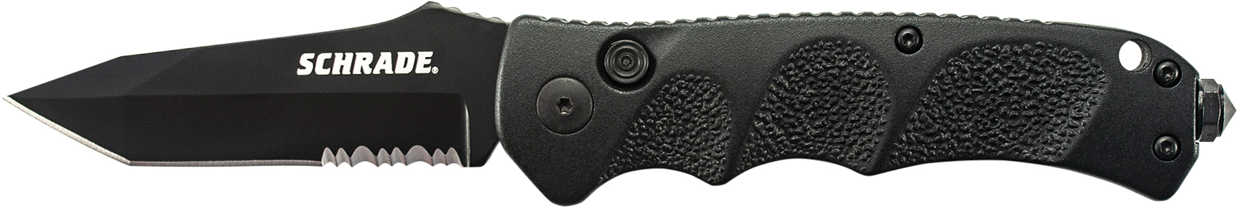 SC60BTS - Schrade Black Tanto 40% Serrated 4116 Steel, Push Button Lock, Safety On Back Of Handle