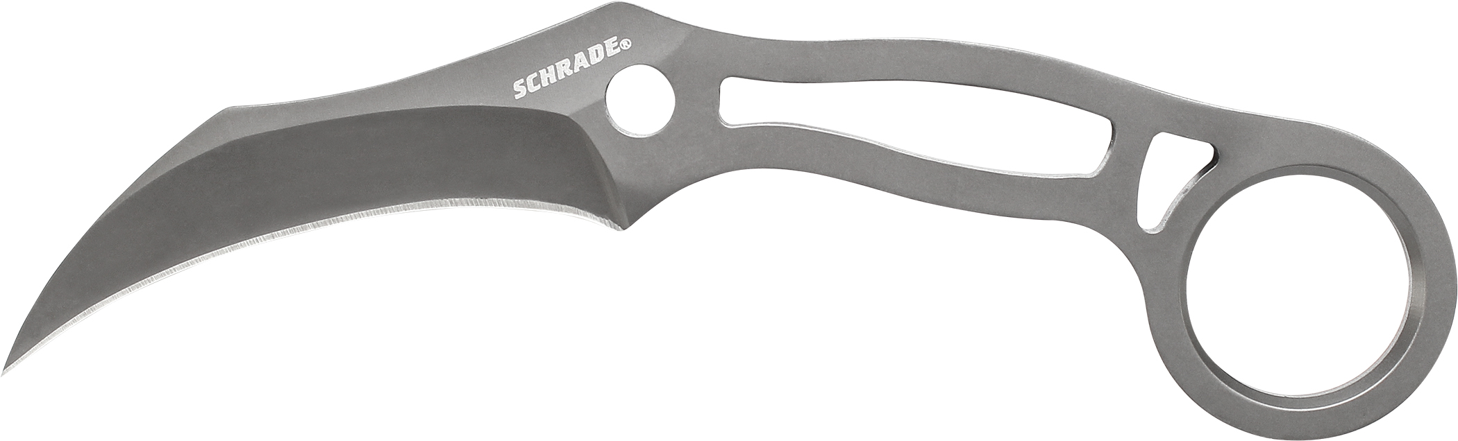 SCH111 - Schrade 9Cr18MoV Grey Ti Coated Karambit Neck Knife, Molded Sheath
