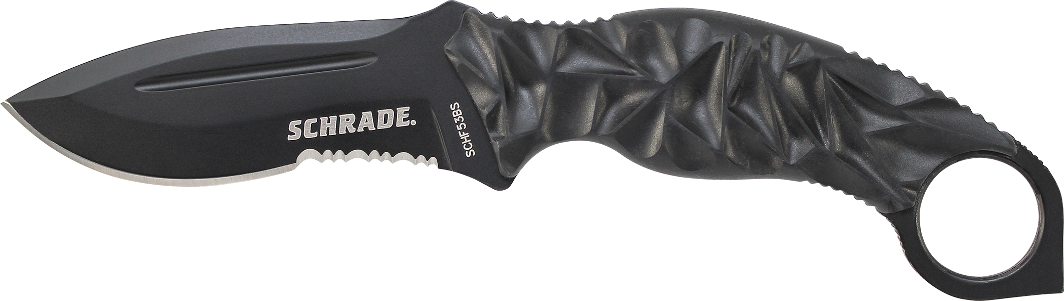 SCHF53BS - Schrade Partially Serrated Fixed Blade, AUS-8 Steel, MOLLE Compatible Sheath, 45