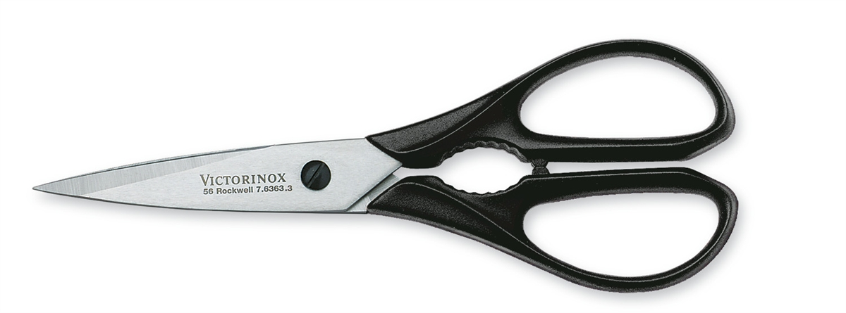 7.6363.US1 - VICTORINOX Come-apart Kitchen Shear, Packaged, Black, Clam Pack,