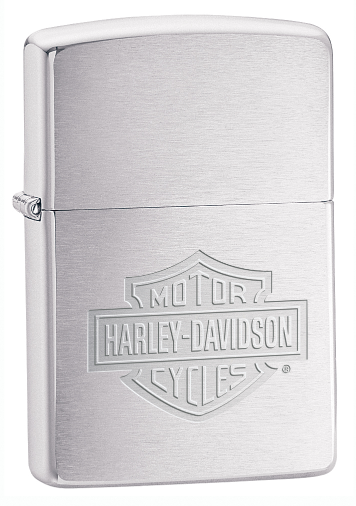 200HD.H199 - Zippo HD Brushed Chrome Lighter, Bar & Shield