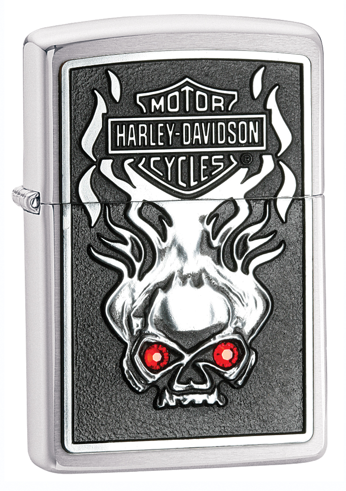 28267 - ZIPPO Harley-Davidson Skull w/ Red Crystals, Brushed Chrome, each