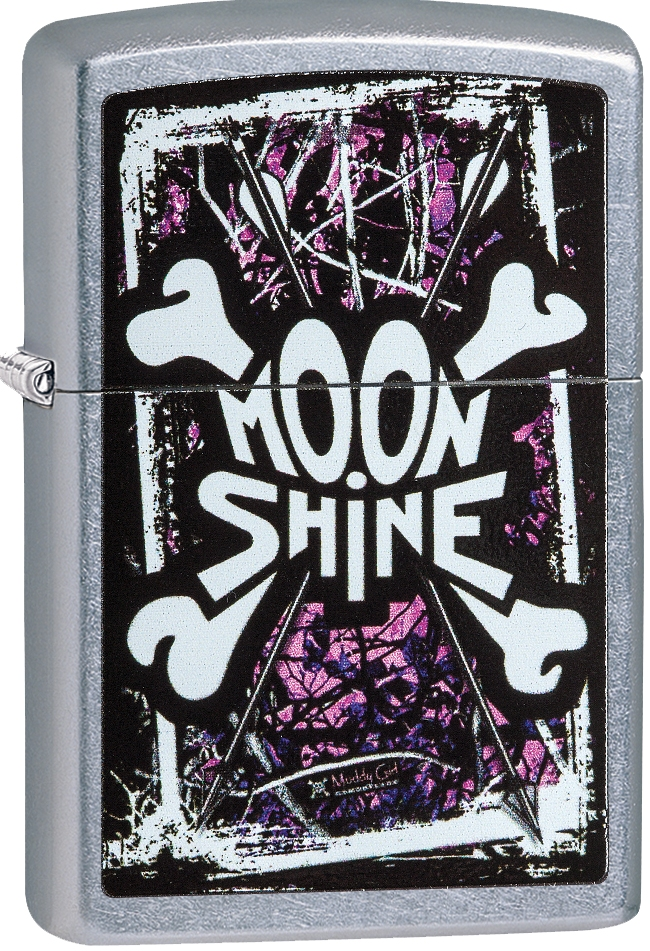 29594 - Zippo Moon Shine Camo Muddy Girl Logo Street Chrome