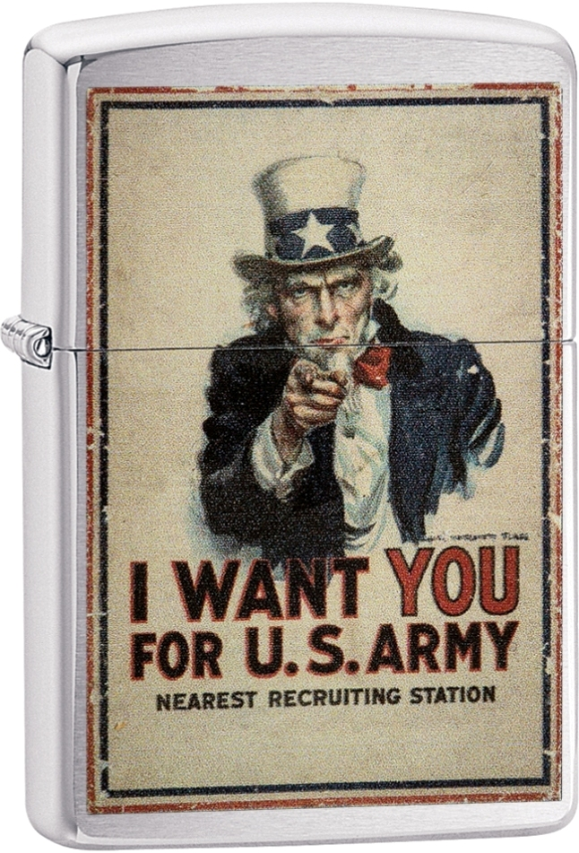 29595 - Zippo Uncle Sam Brushed Chrome