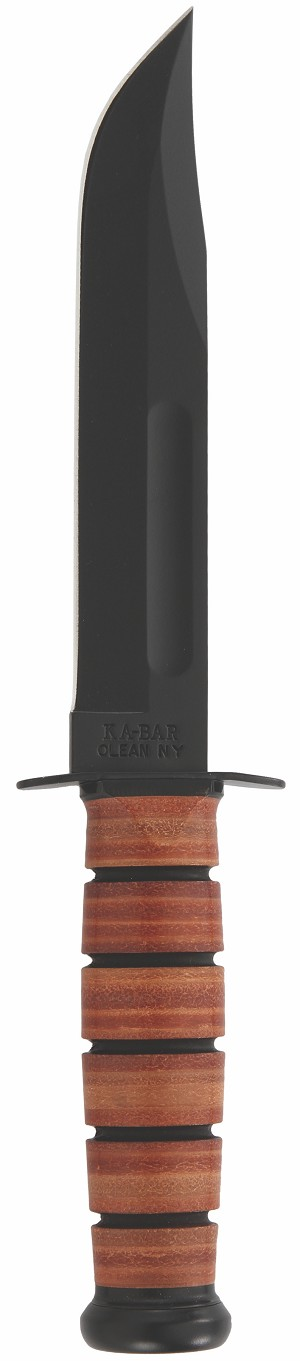 1217 - KA-BAR FIGHTING/UTILITY KNIFE, USMC, BROWN LEATHER SHEATH, STRAIGHT EDGE