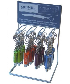 001428 - OPINEL Counter Display stand of 36 keyrings Nø2 sweet pop colours (tangerine, apple, plum, skyblue) 3.5cm