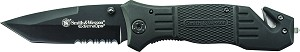 SWFR2S - Smith & Wesson Black Coated Blade, Rubber Coated Aluminum Handle