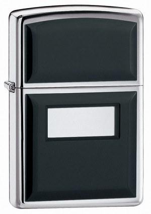 355 - ZIPPO Hp Chrome, Ultralite, Black, Pewter Emblem